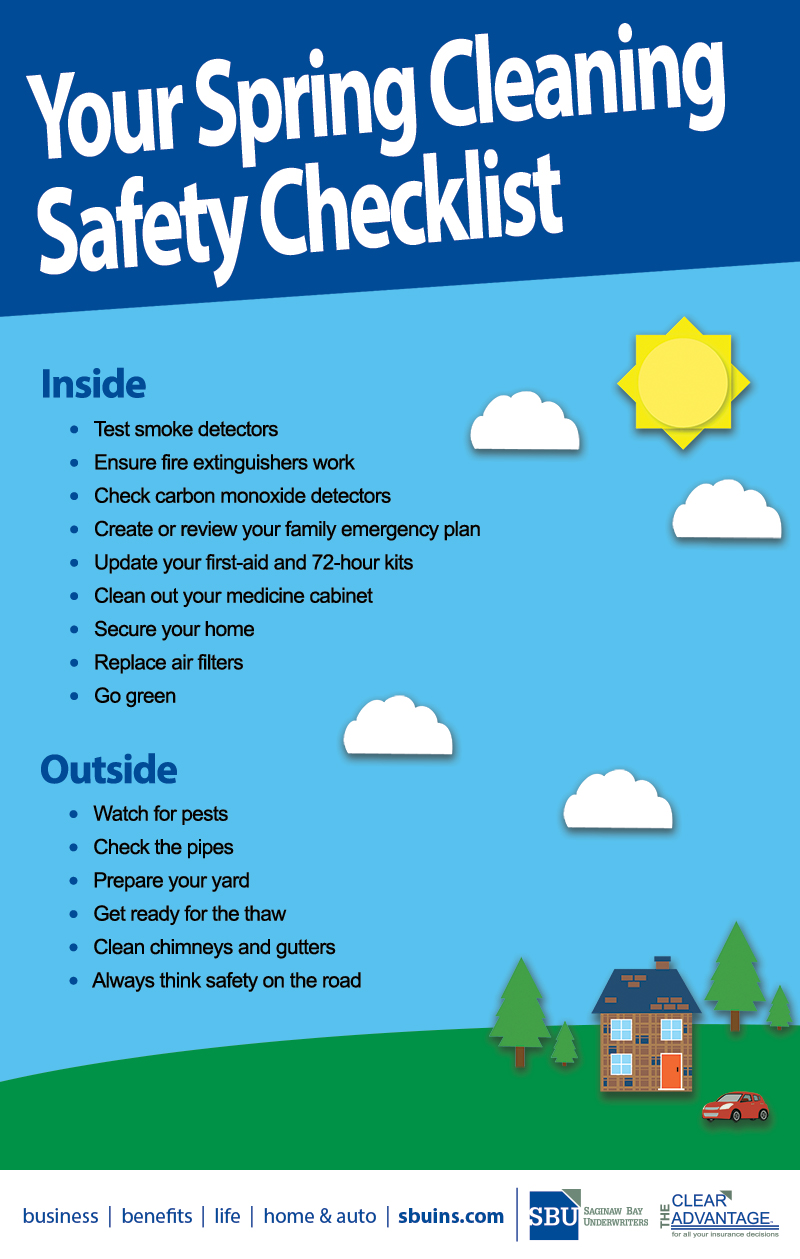Your Spring Cleaning Safety Checklist Infographic Saginaw Bay Underwriters